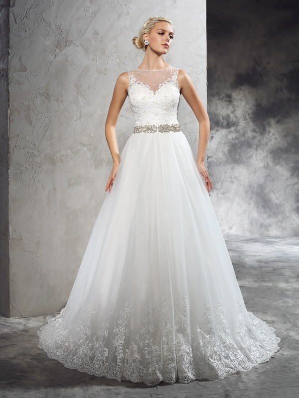 A-Line/Princess Sheer Neck Beading Sleeveless Long Net Wedding Dresses