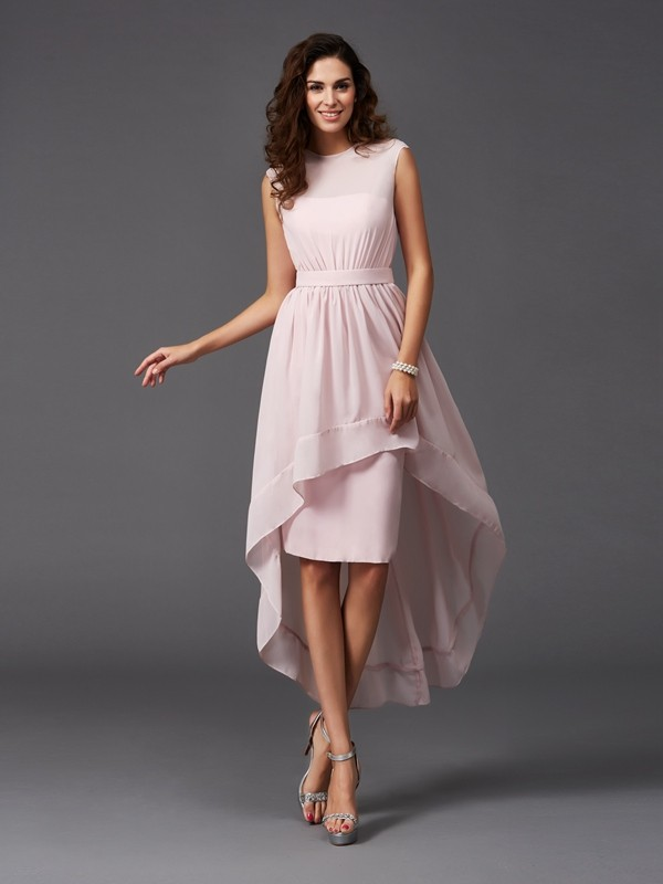 A-Line/Princess Scoop Sash/Ribbon/Belt Sleeveless High Low Chiffon Bridesmaid Dresses