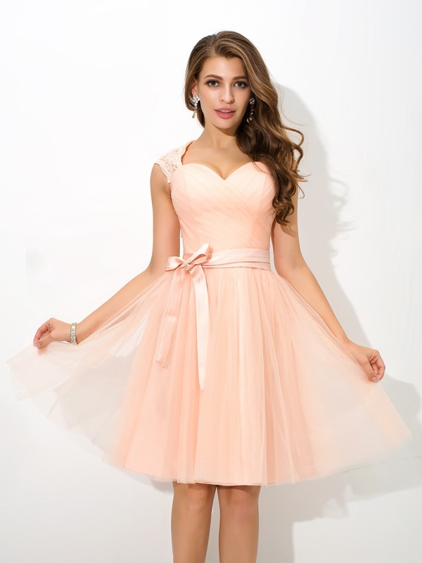 A-Line/Princess Straps Sash/Ribbon/Belt Sleeveless Short Net Bridesmaid Dresses