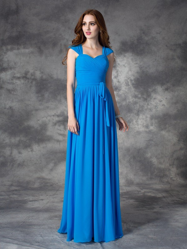 A-line/Princess Straps Ruffles Sleeveless Long Chiffon Bridesmaid Dresses