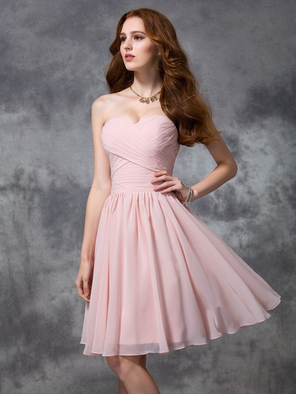 A-line/Princess Sweetheart Sleeveless Ruched Short Chiffon Bridesmaid Dresses