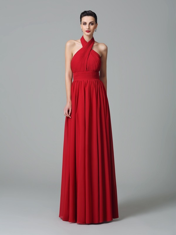 A-Line/Princess Halter Ruffles Sleeveless Long Chiffon Bridesmaid Dresses