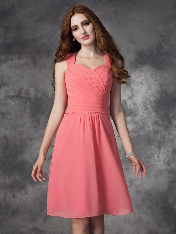 A-line/Princess Straps Ruched Sleeveless Short Chiffon Bridesmaid Dresses