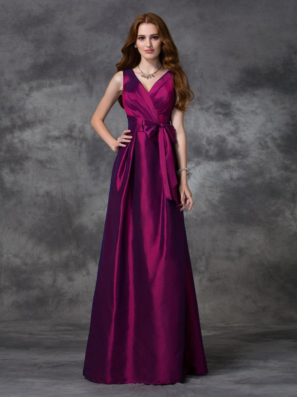 A-line/Princess V-neck Sash/Ribbon/Belt Sleeveless Long Taffeta Bridesmaid Dresses