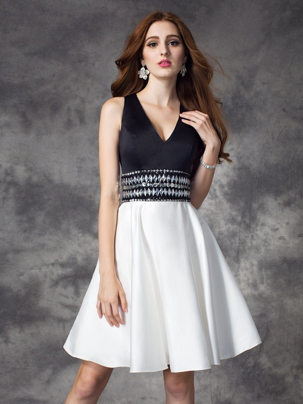 A-line/Princess V-neck Rhinestone Sleeveless Short Satin Dresses