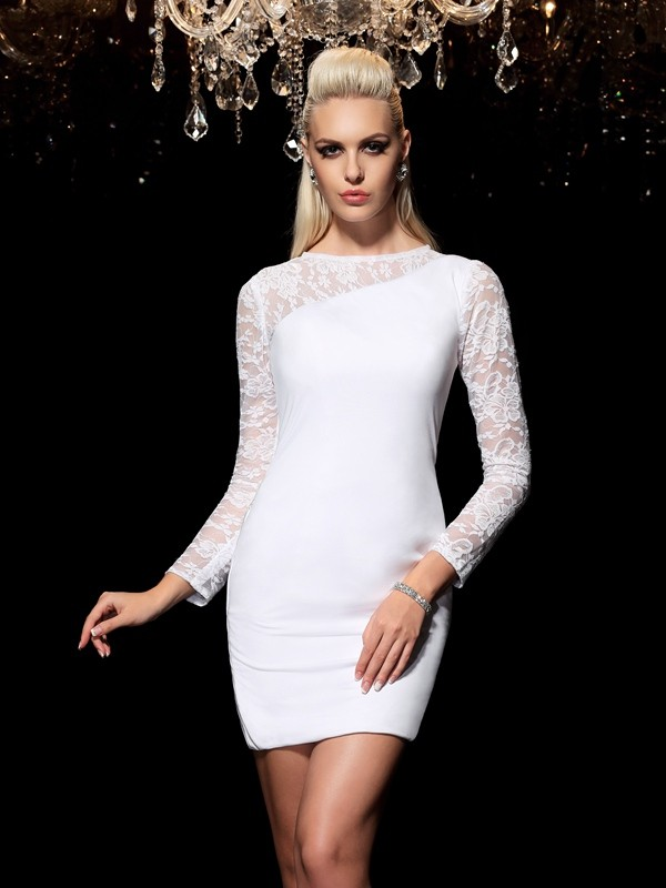 Sheath/Column Scoop Lace Long Sleeves Short Elastic Woven Satin Cocktail Dresses