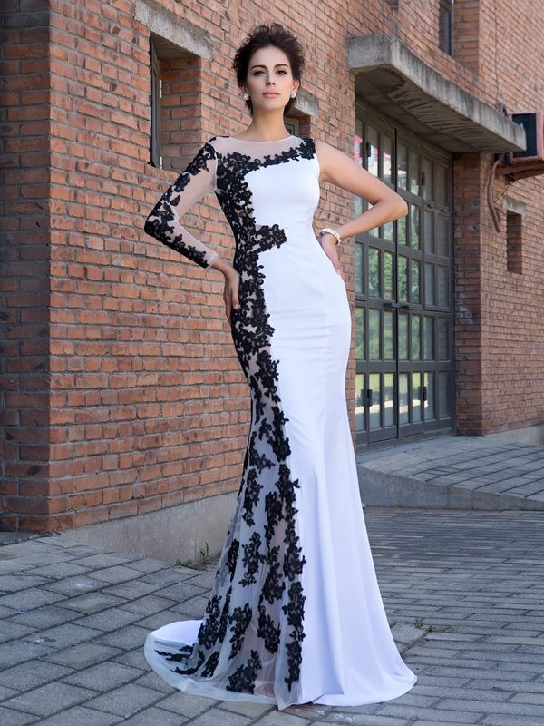 Trumpet/Mermaid Scoop Applique Long Sleeves Long Chiffon Dresses