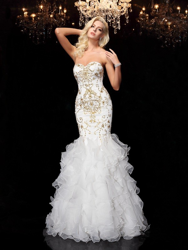 Trumpet/Mermaid Sweetheart Beading Sleeveless Long Organza Dresses