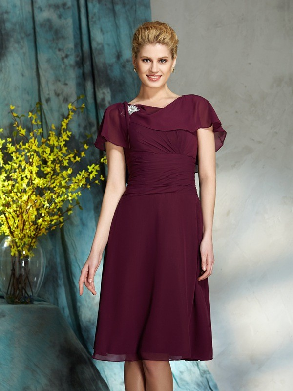 A-Line/Princess Scoop 1/2 Sleeves Short Chiffon Mother of the Bride Dresses