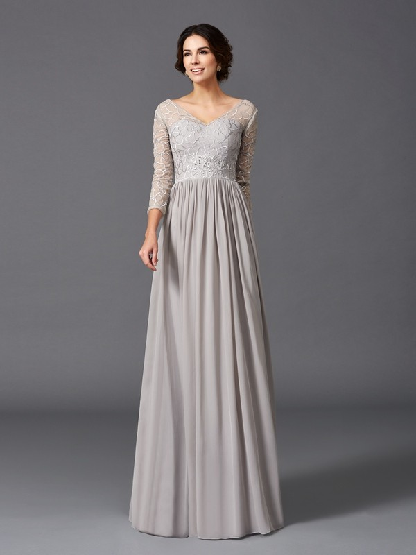 A-Line/Princess V-neck Ruffles 3/4 Sleeves Long Chiffon Mother of the Bride Dresses