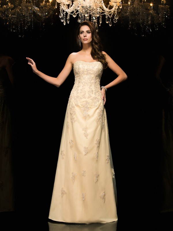 A-Line/Princess Sweetheart Sleeveless Long Net Mother of the Bride Dresses