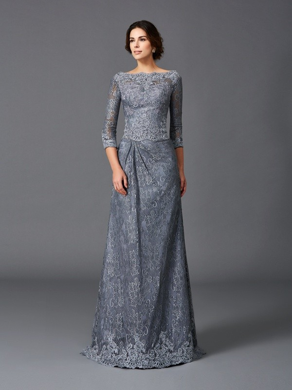 A-Line/Princess Bateau Lace 3/4 Sleeves Long Net Mother of the Bride Dresses