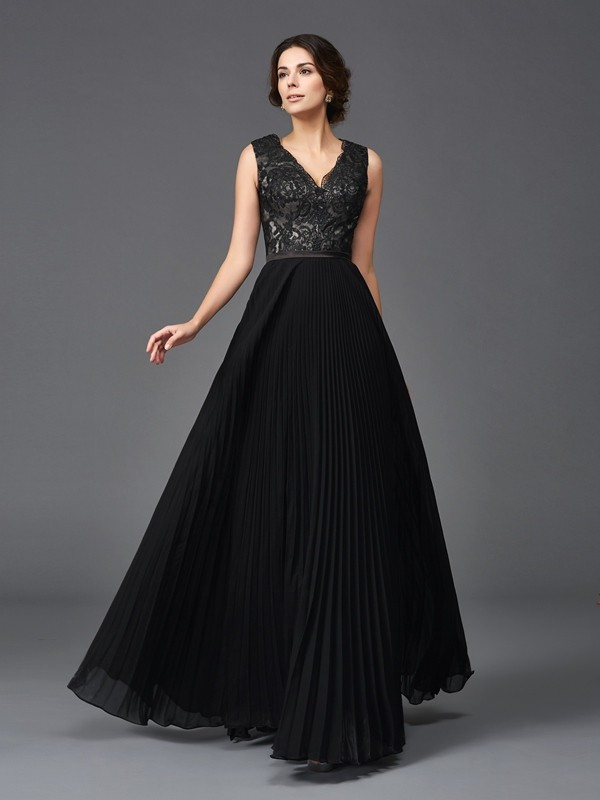 A-Line/Princess V-neck Lace Sleeveless Long Chiffon Mother of the Bride Dresses