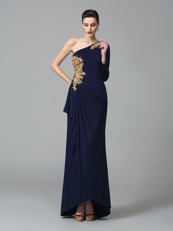 Sheath/Column One-Shoulder Embroidery Long Sleeves Long Spandex Dresses