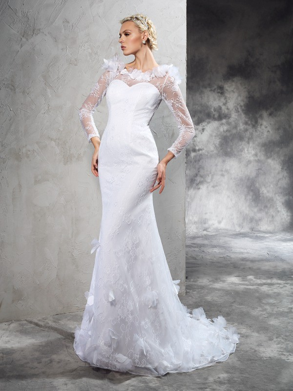 Sheath/Column Sheer Neck Hand-Made Flower Long Sleeves Long Satin Wedding Dresses
