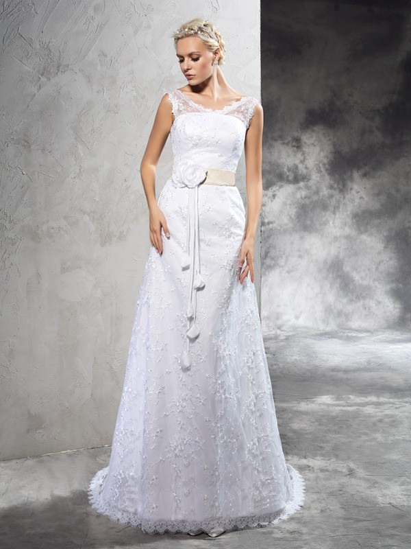 Sheath/Column Sheer Neck Hand-Made Flower Sleeveless Long Satin Wedding Dresses