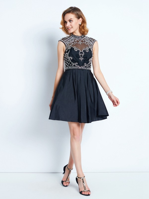A-Line/Princess Sleeveless High Neck Beading Short/Mini Satin Dresses