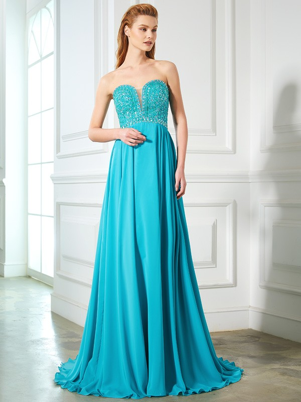 A-Line/Princess Sweetheart Beading Sleeveless Chiffon Sweep/Brush Train Dresses