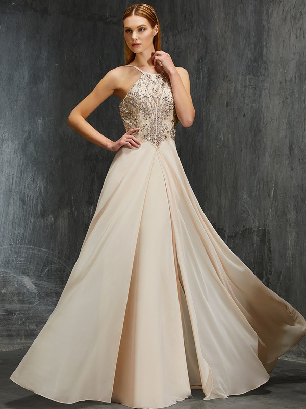 A-line/Princess Spaghetti Straps Sleeveless Beading Sweep/Brush Train Chiffon Dresses