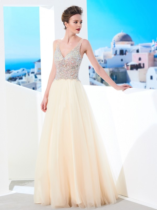 Ball Gown V-neck Sleeveless Beading Floor-length Tulle Dresses