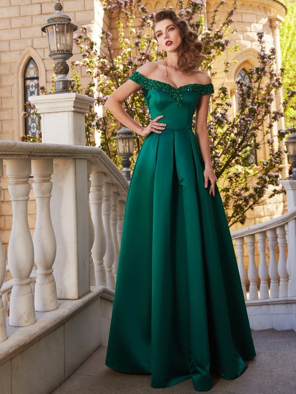 A-Line/Princess Off-the-Shoulder Sequin Sleeveless Satin Floor-Length Dresses