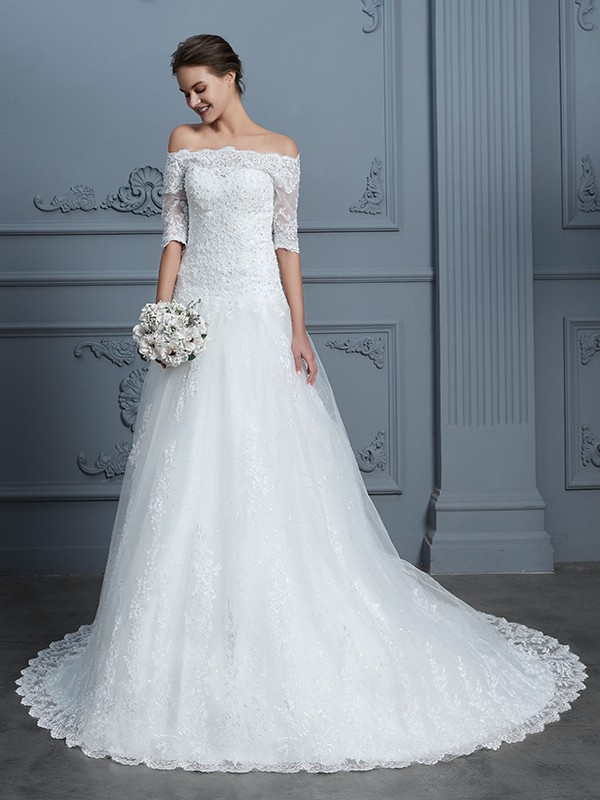 Ball Gown Off-the-Shoulder 1/2 Sleeves Court Train Lace Wedding Dress
