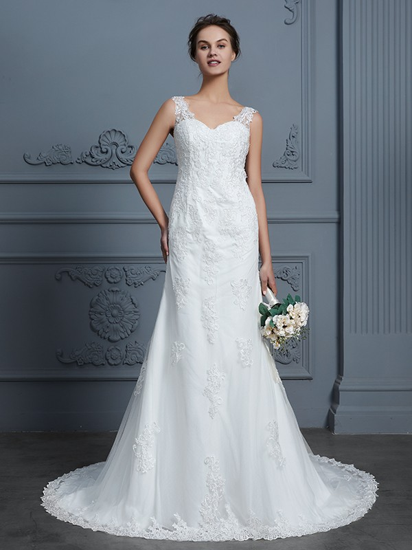 Mermaid V-neck Sleeveless Lace Court Train Tulle Wedding Dress