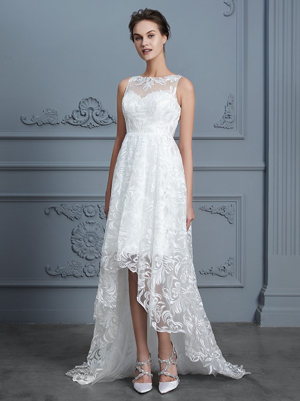 A-Line Scoop Sleeveless Asymmetrical Lace Wedding Dress