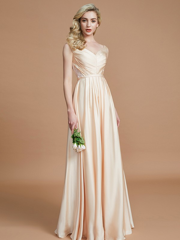 A-Line V-neck Sleeveless Floor-Length Satin Chiffon Bridesmaid Dress