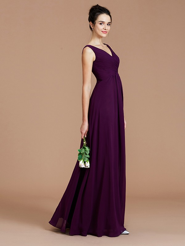 A-Line V-neck Sleeveless Ruched Floor-Length Chiffon Bridesmaid Dresses