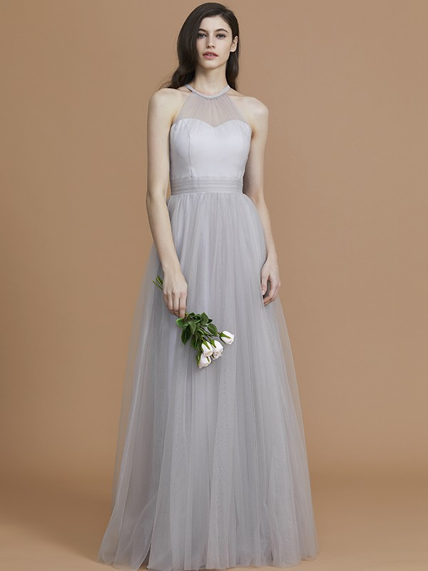 A-Line Halter Sleeveless Floor-Length Tulle Bridesmaid Dress