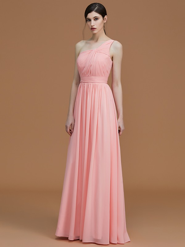 A-Line One-Shoulder Sleeveless Floor-Length Chiffon Bridesmaid Dress