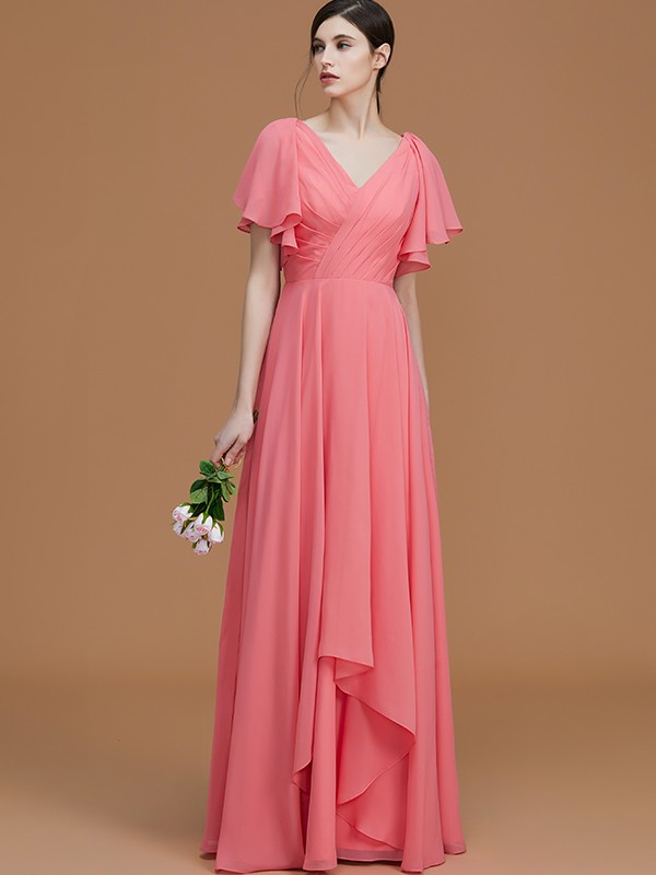 A-Line V-neck Short Sleeves Floor-Length Chiffon Bridesmaid Dress