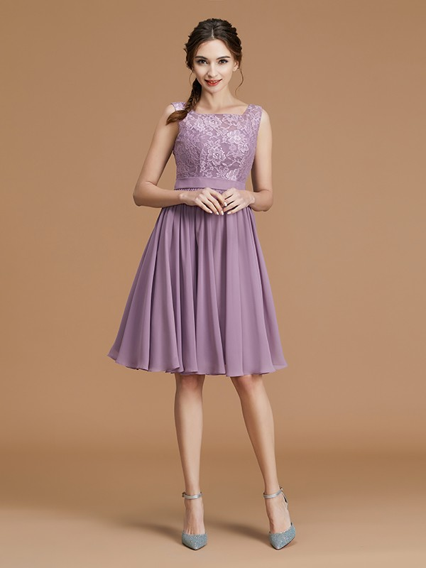 A-Line Bateau Sleeveless Short/Mini Chiffon Bridesmaid Dress
