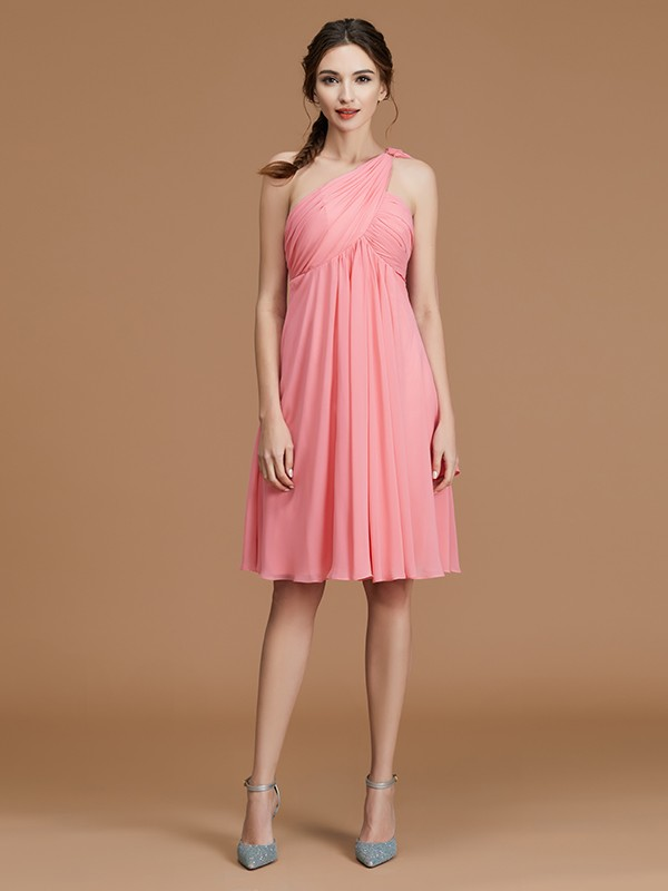 A-Line One-Shoulder Sleeveless Short/Mini Chiffon Bridesmaid Dress