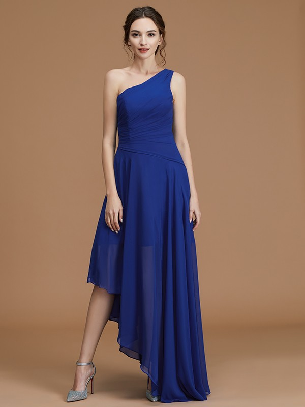Fancy A-Line One-Shoulder Sleeveless Asymmetrical Chiffon Bridesmaid Dress