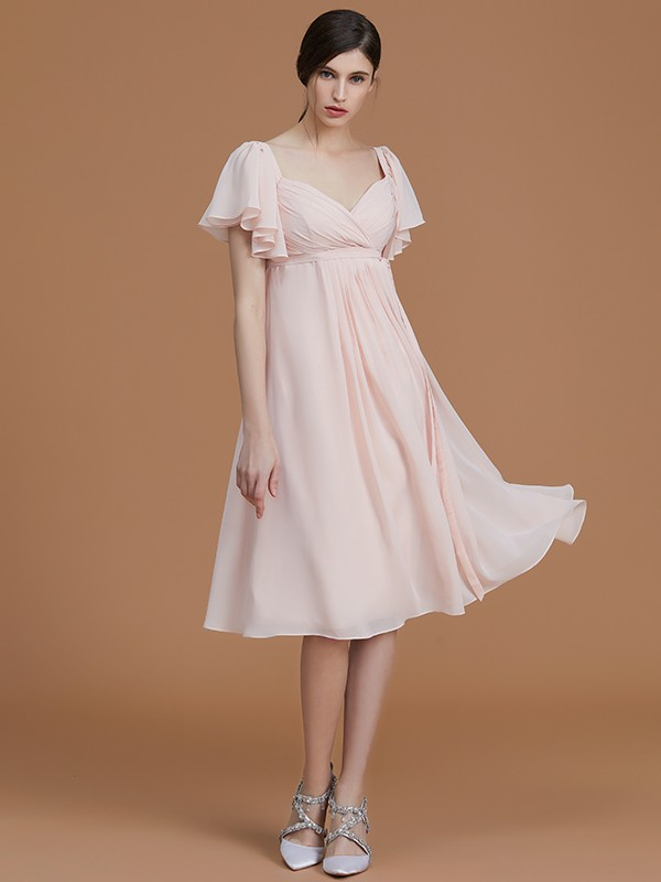 Empire Sweetheart Short Sleeves Knee-Length Chiffon Bridesmaid Dress