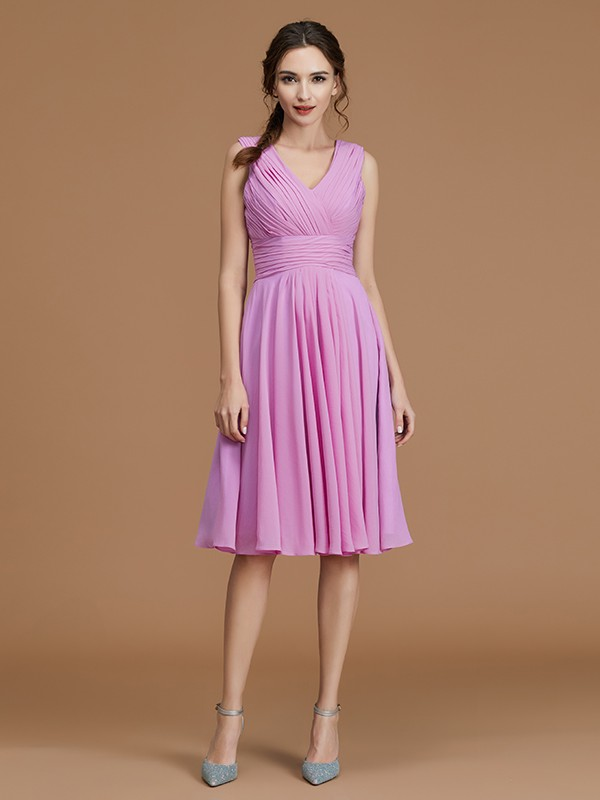 A-Line V-neck Sleeveless Short/Mini Chiffon Bridesmaid Dress