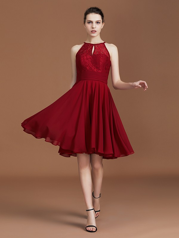A-Line Shalter Sleeveless Knee-Length Chiffon Bridesmaid Dress