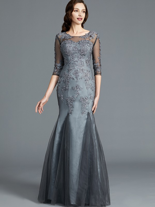Sheath Scoop Applique 1/2 Sleeves Tulle Floor-Length Mother of the Bride Dresses