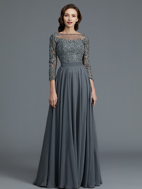 A-Line 3/4 Sleeves Bateau Floor-Length Chiffon Mother of the Bride Dresses