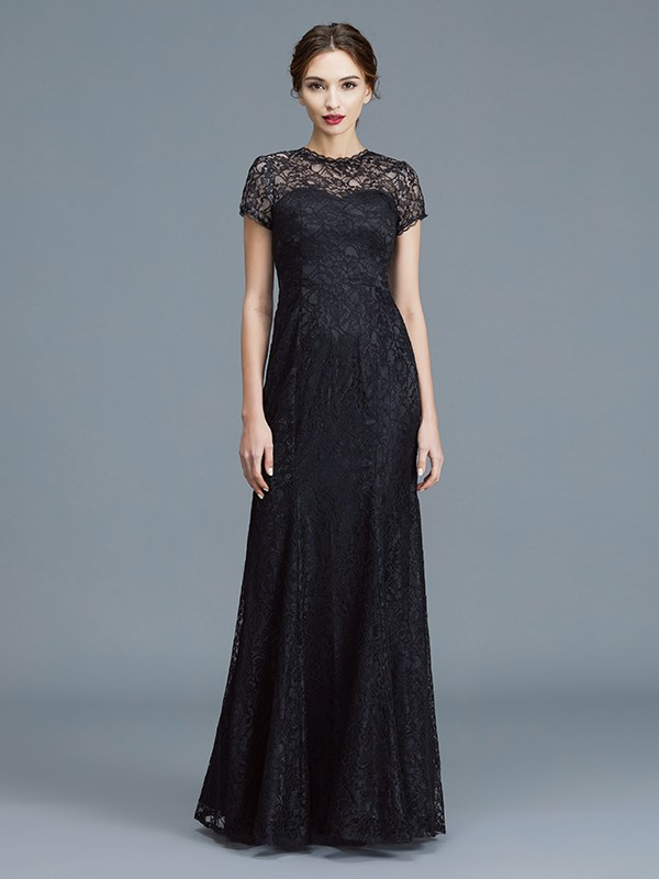 Trumpet/Mermaid Scoop Short Sleeves Lace Floor-Length Mother of the Bride Dresses
