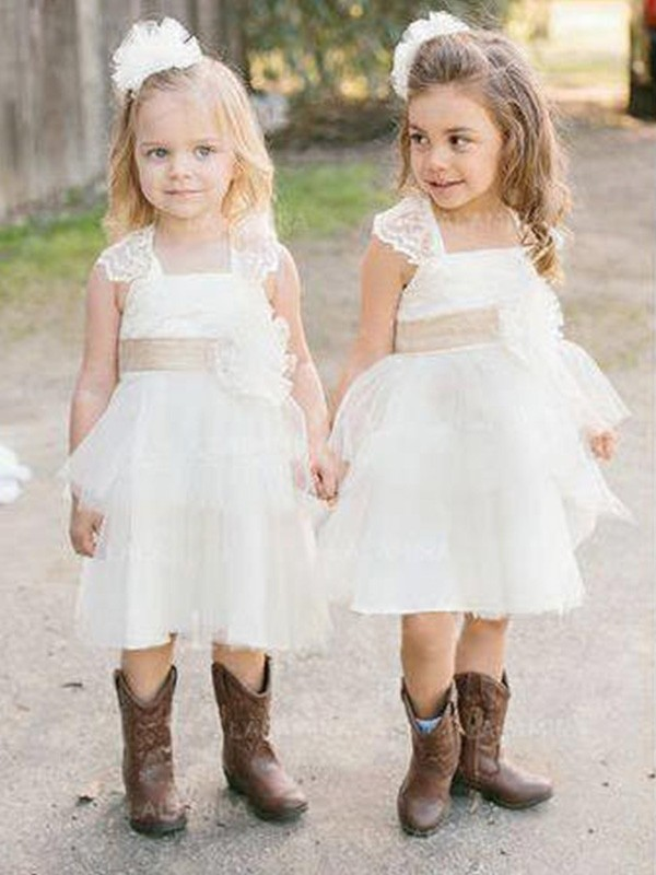 A-Line Sleeveless Square Knee-Length Sash/Ribbon/Belt Tulle Flower Girl Dresses