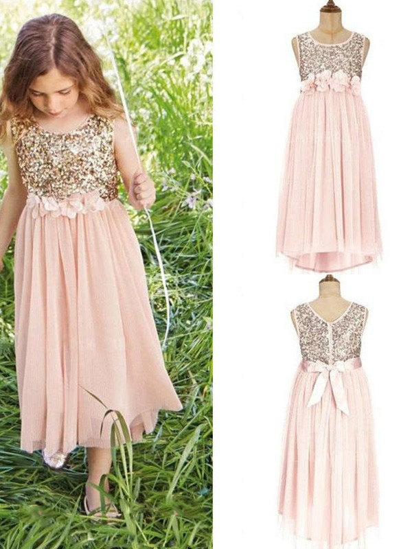 A-Line Sleeveless Scoop Tea-Length Sequin Chiffon Flower Girl Dresses