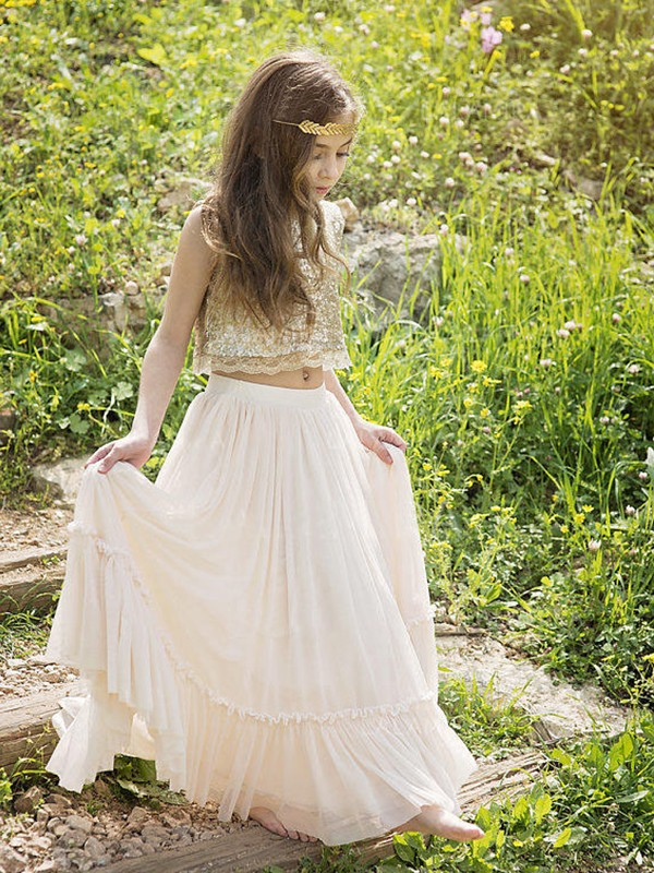 A-Line Sleeveless Scoop Floor-Length Sequin Chiffon Flower Girl Dresses