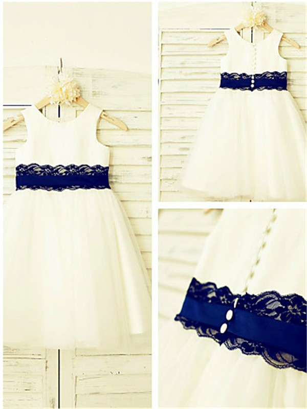 A-line Scoop Sleeveless Lace Tea-Length Tulle Flower Girl Dress