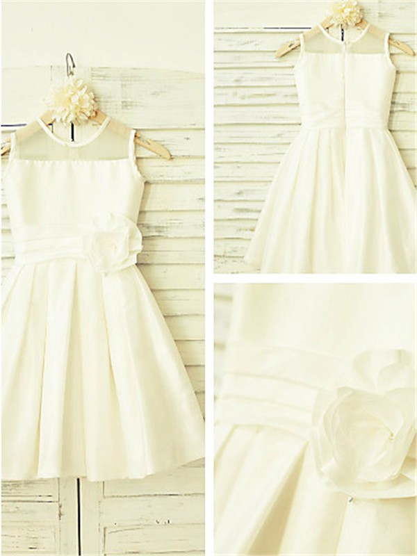 Princess Scoop Sleeveless Tea-Length Chiffon Flower Girl Dress