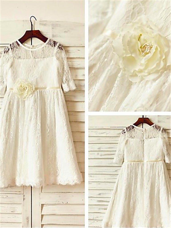 A-line Scoop 3/4 Sleeves Ankle-Length Lace Flower Girl Dress