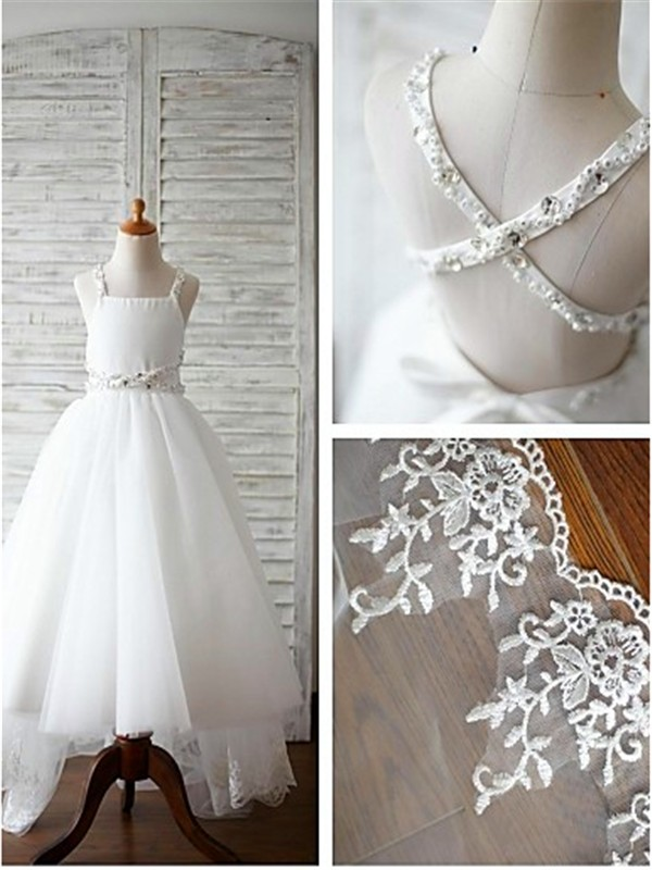 A-line Spaghetti Straps Sleeveless Sweep/Brush Train Tulle Flower Girl Dress