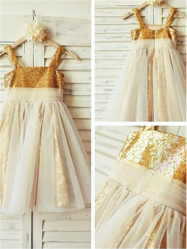 A-line Spaghetti Straps Sleeveless Tea-length Sequins Flower Girl Dress